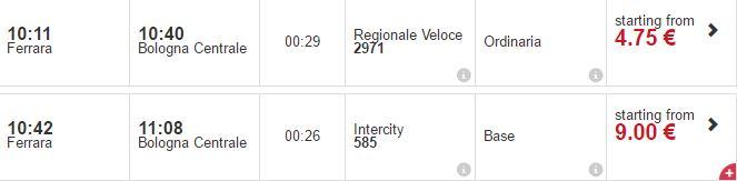 Ferrara -bologna prices