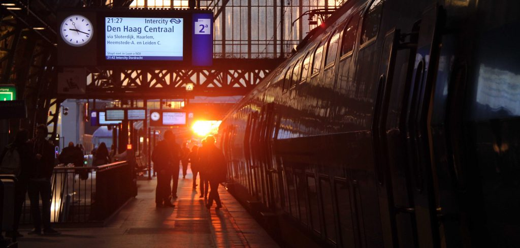 Sunset at Amsterdam train station
